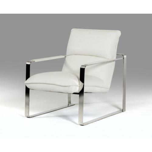 Divani Casa Dunn Modern White Leather Lounge Chair