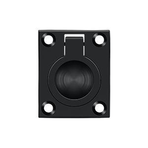 "Deltana - Flush Ring Pull, 1-3/4"" x 1-3/8"" - Paint Black"