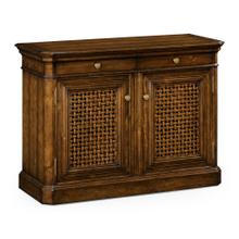 Latticework Walnut Side Cabinet
