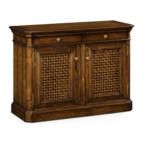 Latticework Walnut Side Cabinet