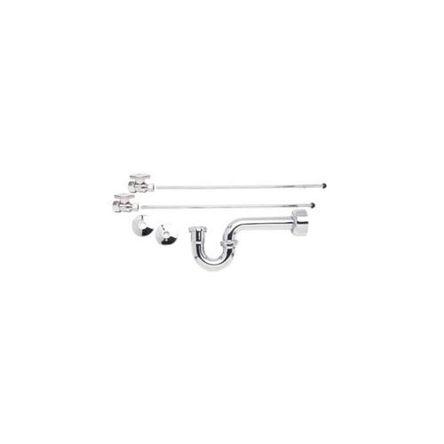 """Mountain Plumbing - Lavatory Supply Kit - Straight & Angle Sweat with P-Trap 1/2"""" Compression (5/8"""" O.D. ) Inlet x 3/8"""" O.D. Compression Outlet - Polished Chrome"""
