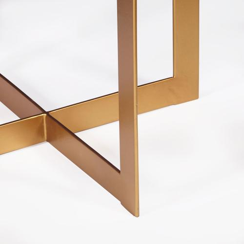 One Drawer Iron X Base Side Table