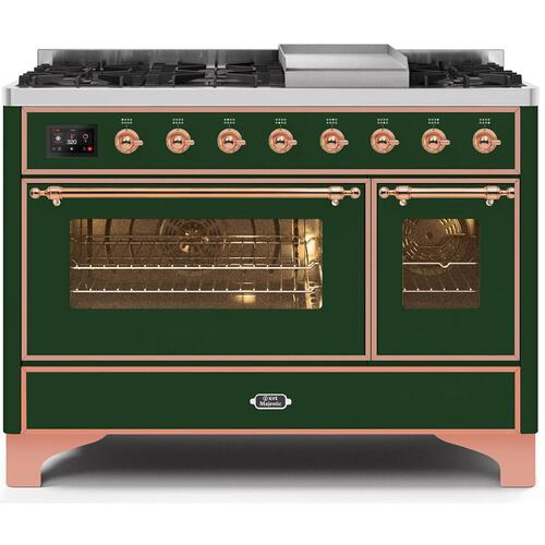 Majestic II 48 Inch Dual Fuel Liquid Propane Freestanding Range in Emerald Green with Copper Trim