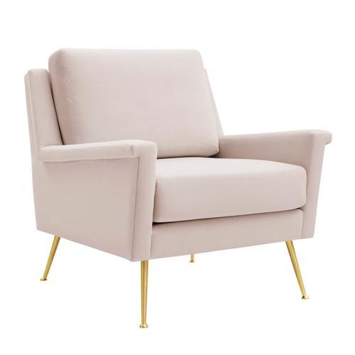 Modway - Chesapeake Performance Velvet Armchair in Gold Pink