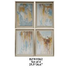 SET OF 4 print abstract,solid wood frame 1SET/7.77'