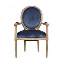 Blue Velvet Medallion Arm Chair