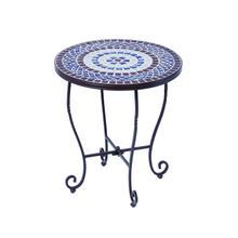 "Tremiti 20"" Rnd Side Table w/Cer Tile Top&Base"