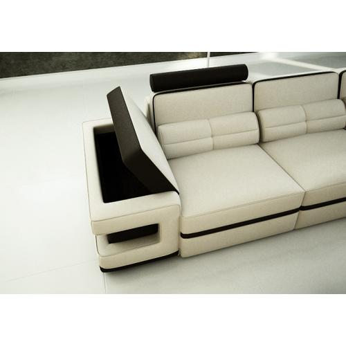 Divani Casa 6122 Modern White and Black Bonded Leather Sectional Sofa