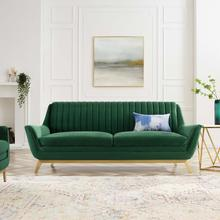 Winsome Channel Tufted Performance Velvet Sofa in Emerald