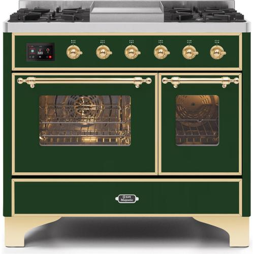 Majestic II 40 Inch Dual Fuel Natural Gas Freestanding Range in Emerald Green with Brass Trim