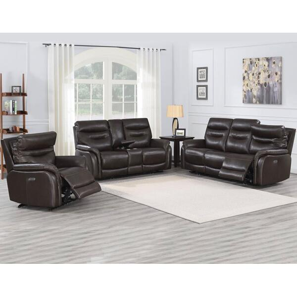 Fortuna Coffee 3-Piece Dual-Power Leather Reclining Set(Sofa, Loveseat & Chair)