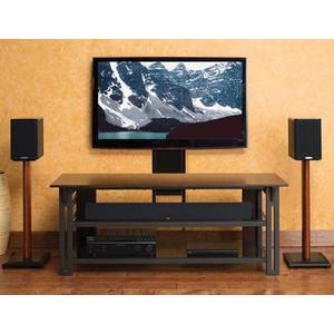 Gunmetal Audio Video Stand Tempered-glass shelves - fits AV components and TVs up to 65""