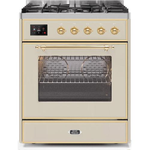 Majestic II 30 Inch Dual Fuel Liquid Propane Freestanding Range in Antique White with Brass Trim
