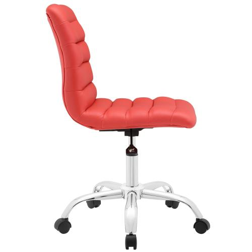 Ripple Armless Mid Back Vinyl Office Chair in Red