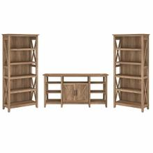 See Details - Tall TV Stand with Set of 2 Bookcases, Reclaimed Pine