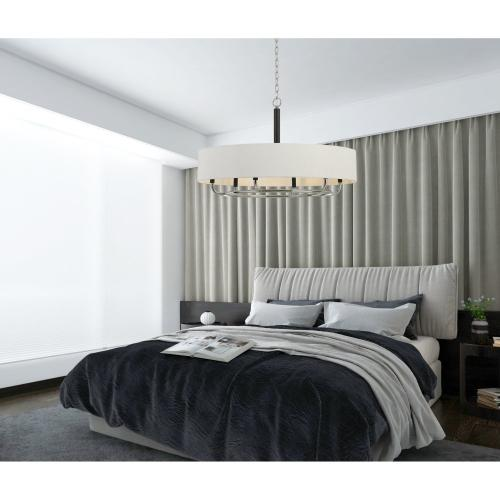 60W X 6 Alava Metal Chandelier With Fabric Shade