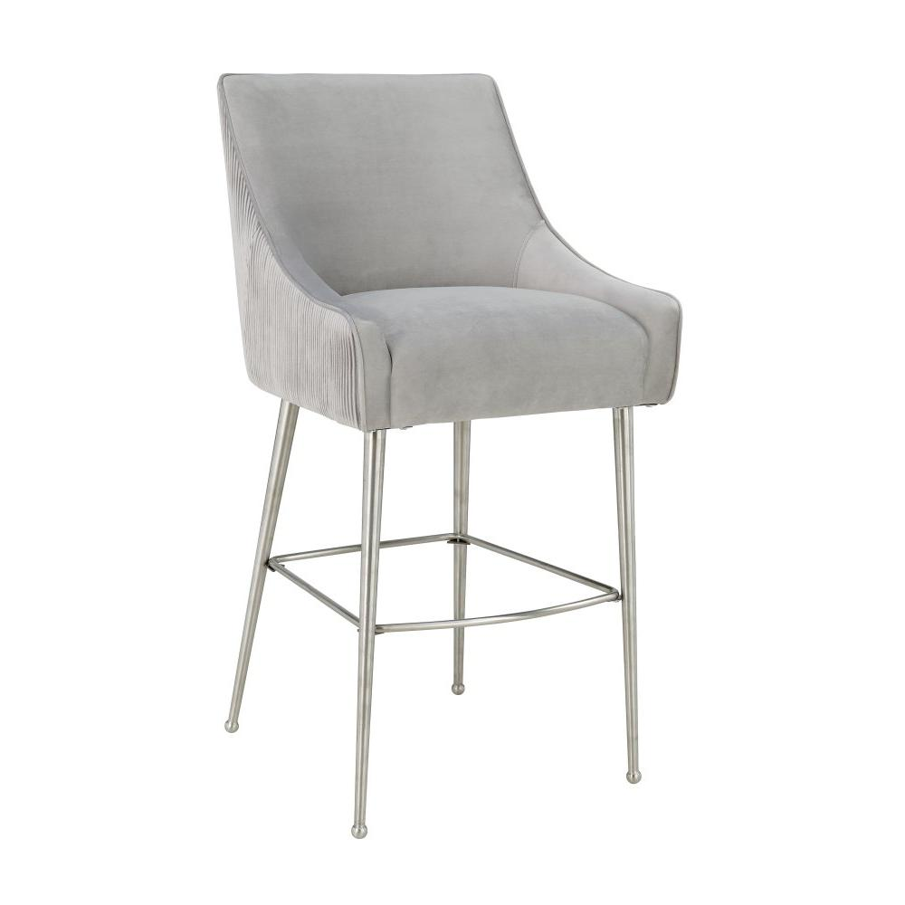 Beatrix Pleated Light Grey Velvet Counter Stool