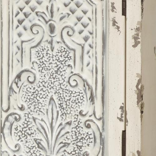 Two Door Fleur De Lis Accent Chest in Distressed White