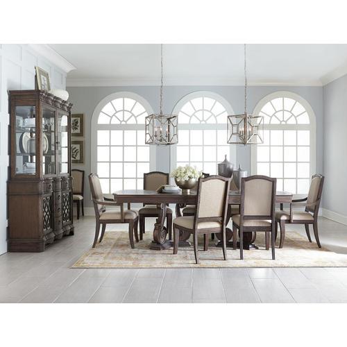 "Standard Furniture - Parliment Pedestal Table with 18"" Leaf, Brown"