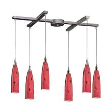 Lungo 6-Light H-Bar Pendant Fixture in Satin Nickel with Fire Red Glass