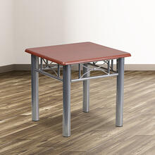 See Details - Mahogany Laminate End Table with Silver Steel Frame