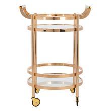 See Details - Sienna 2 Tier Round Bar Cart - Gold