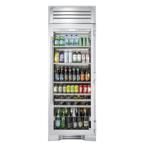 True Residential - 30 Inch Stainless Glass Door Right Hinge Beverage Column