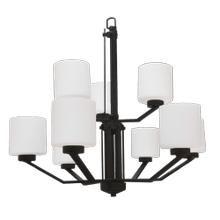 Paris 9-Light Chandelier- Matte Black Finish- White Cylinder Glass