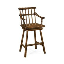 Rustic Dark Oak Country Arm Bar Stool