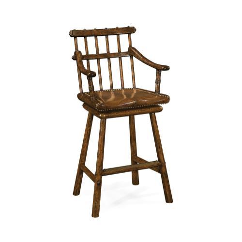 Rustic Style Dark Oak Arm Chair Bar Stool