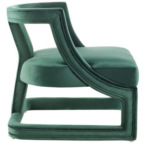 Requisite Accent Lounge Performance Velvet Armchair in Green
