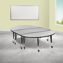"""See Details - 3 Piece Mobile 86"""" Oval Wave Flexible Grey Thermal Laminate Activity Table Set - Height Adjustable Short Legs"""