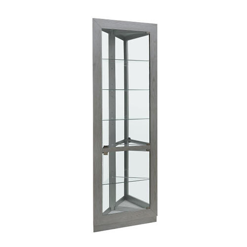 Pulaski Furniture - Asymmetrical Two Door Corner Curio Cabinet in Soft gray