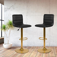 Modern Black Vinyl Adjustable Bar Stool with Back, Counter Height Swivel Stool with Gold Pedestal Base, Set of 2