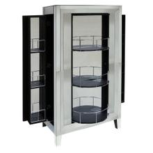 CLEAR MIRROR  33in w. X 30in ht. X 16in d.  Single Action Elegant Bar Cabinet with Lazy Susan Fron