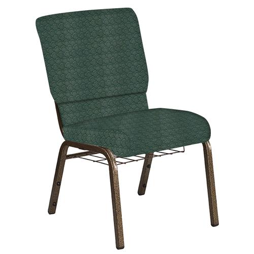 Flash Furniture - 18.5''W Church Chair in Arches Forest Fabric with Book Rack - Gold Vein Frame