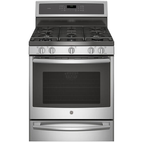 "GE Profile 30"" Gas Freestanding Convection Range with Warming Drawer Stainless Steel PCGB940SEJSS"