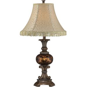 Table Lamp - Ant. Bronze/fabric Shade W.TASSEL, E27 Cfl 23w