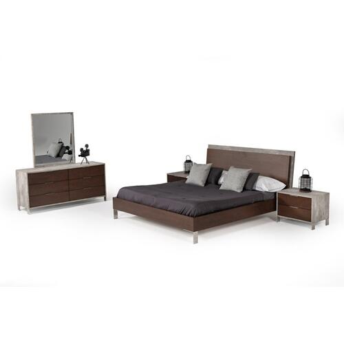Nova Domus Conner Modern Dark Walnut & Faux Concrete Bed