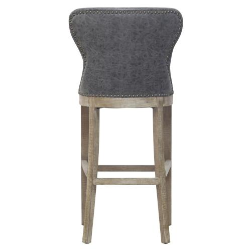 Dorsey PU Bar Stool Drift Wood Legs, Nubuck Charcoal