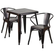 "Commercial Grade 23.75"" Square Black-Antique Gold Metal Indoor-Outdoor Table Set with 2 Arm Chairs"