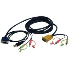 VGA/USB/Audio Combo Cable Kit for KVM Switch B006-VUA4-K-R, 10 ft.