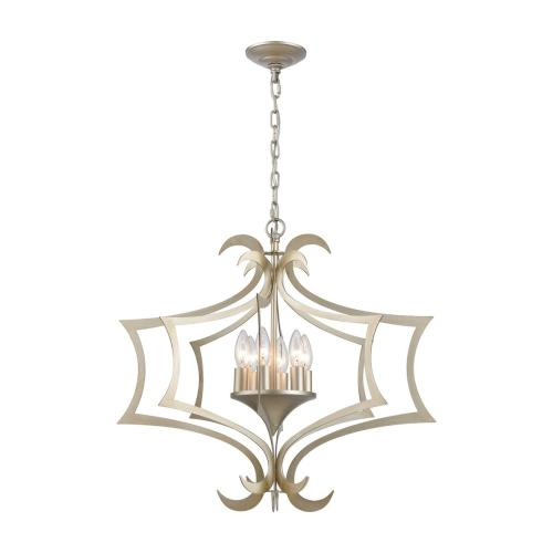 Delray 6-Light Chandelier in Aged Silver