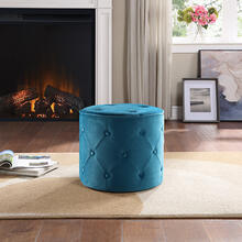 Curves Tufted Round Ottoman In Cruising Fabric