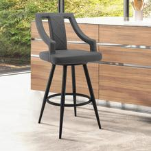 """Maxen 26"""" Gray Faux Leather and Black Metal Swivel Bar Stool"""