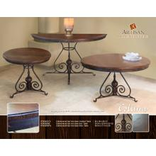 See Details - Colima Wood Top / Iron Base Cocktail Table