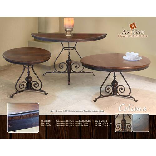 Colima Wood Top / Iron Base Sofa Table