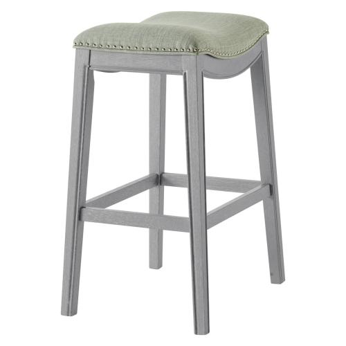 Grover KD Fabric Bar Stool Ash Gray Frame, Lyon Light Green