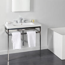 Floor-standing metal console stand with a towel bar (Bathroom Sink 5213 sold separately), made of stainless steel or brass. It must be attached to wall.