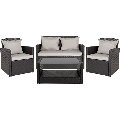Flash Furniture - Aransas Series 4 Piece Black Patio Set with Gray Back Pillows and Seat Cushions
